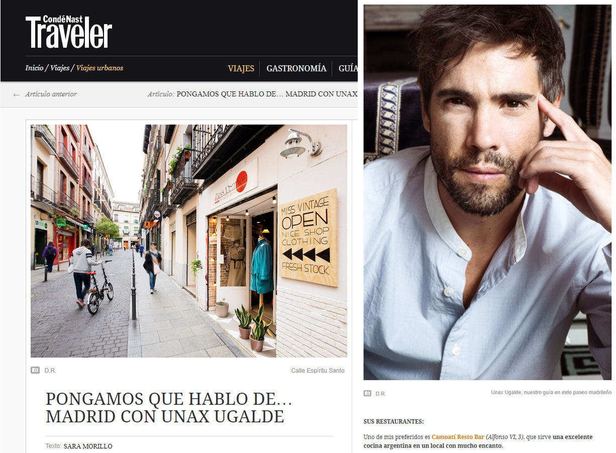 Image of the actor Unax Ugalde in the travel magazine Traveler 25-05-2016