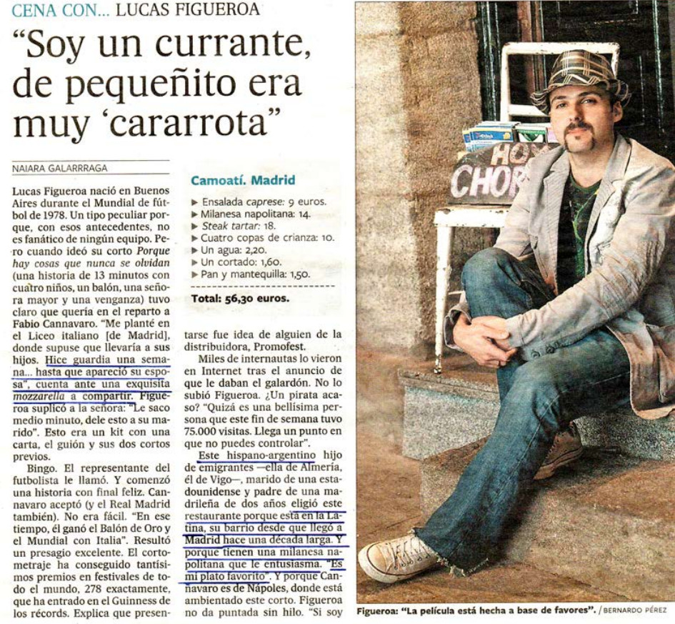 Image of the article about Lucas Figueroa, El País newspaper