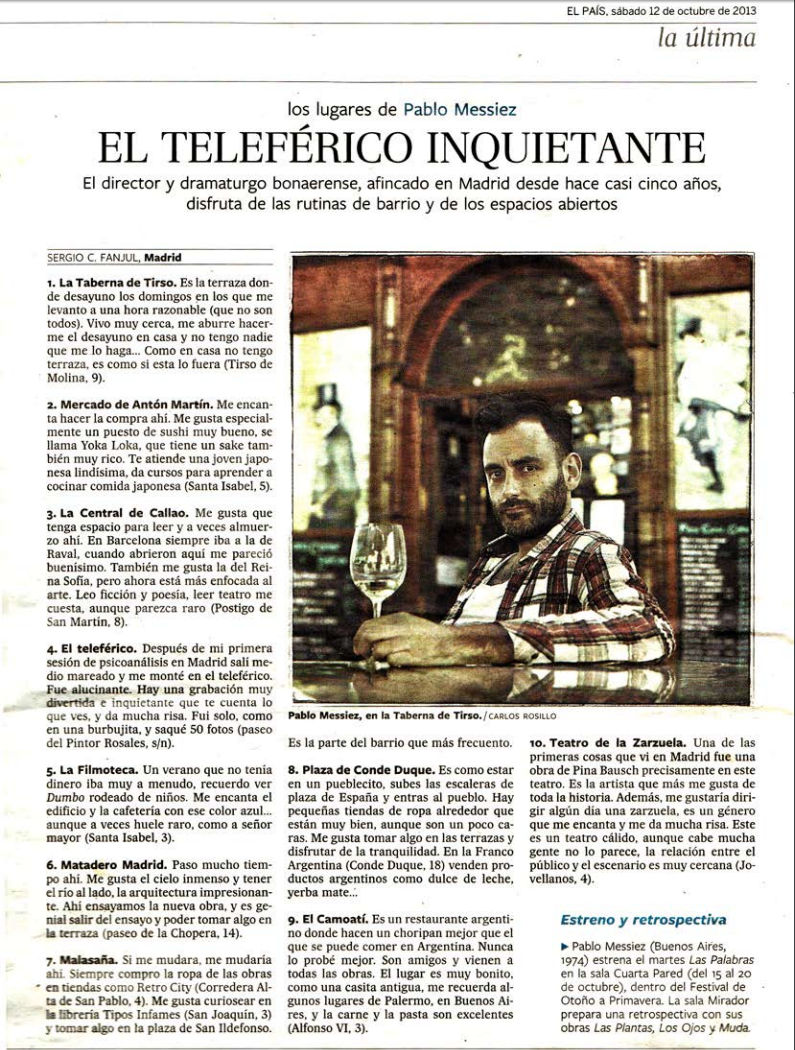 Image of the Argentine director and playwright Pablo Messiez recommending El Camoatí in El País newspaper (12-10-2013)
